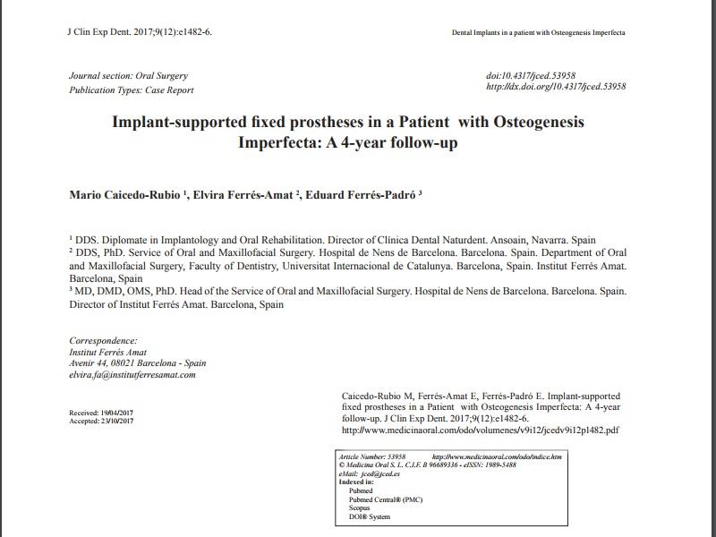 Publicado nuestro artículo científico sobre implantes en un paciente con osteogénesis imperfecta