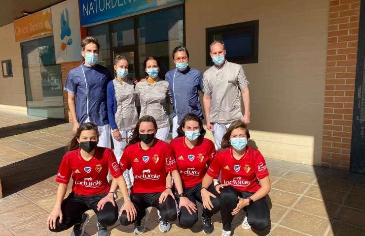 Las jugadoras de Osasuna Lacturale Orvina, en Naturdent